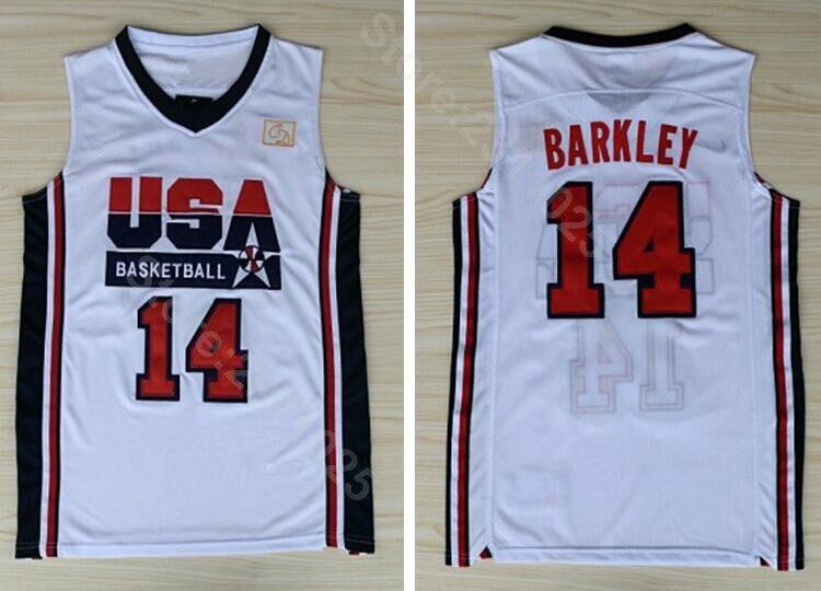 f290a4d8b62c Ediwallen Free Shipping 14 Charles Barkley Jersey Men 1992 USA Dream Team  One Basketball Jerseys Uniform