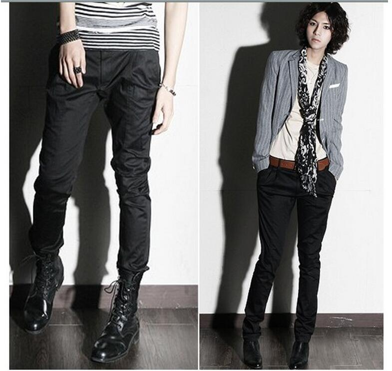 HOT 2018 spring and autumn New fashion Men skinny pants taper pants boot cut jeans slim casual trousers hairstylist costumes