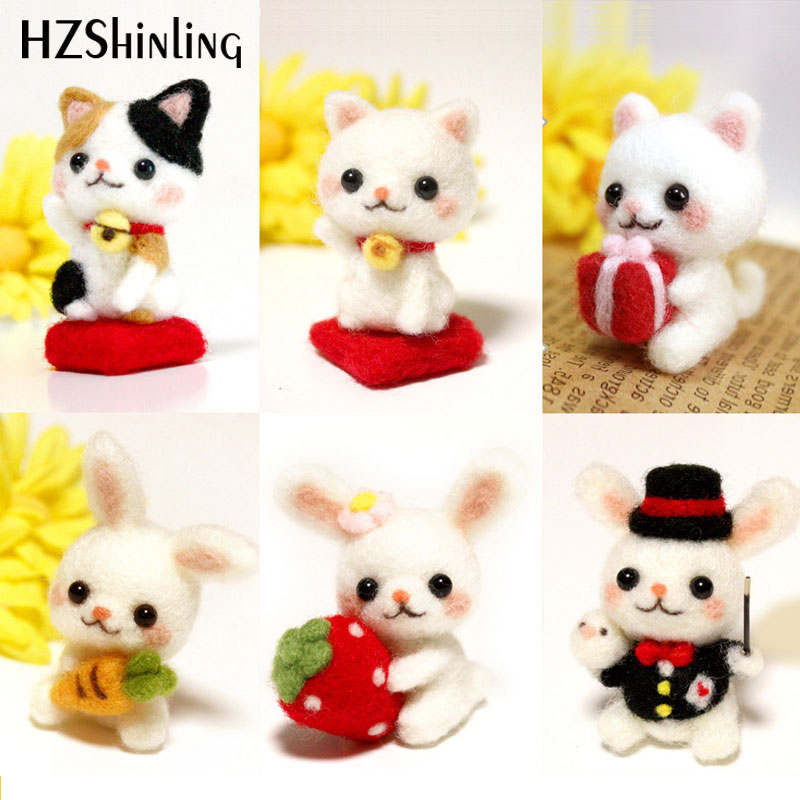 Lovely Kitty Cat Rabbit Pets Handmade Toy Doll Wool Felt Poked Kitting Non-Finished DIY Wool Felting Package