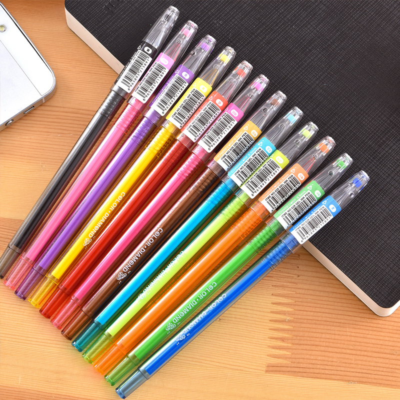 12 Pcs/lot New Cute Small Fresh Candy Color Diamond Color Gel Pen Creative Gift School Supplies Colored Gel Pens 36pcs lot school office supplies stationery fresh candy color diamond colored gel pens with case kid birthday gift drop shipping