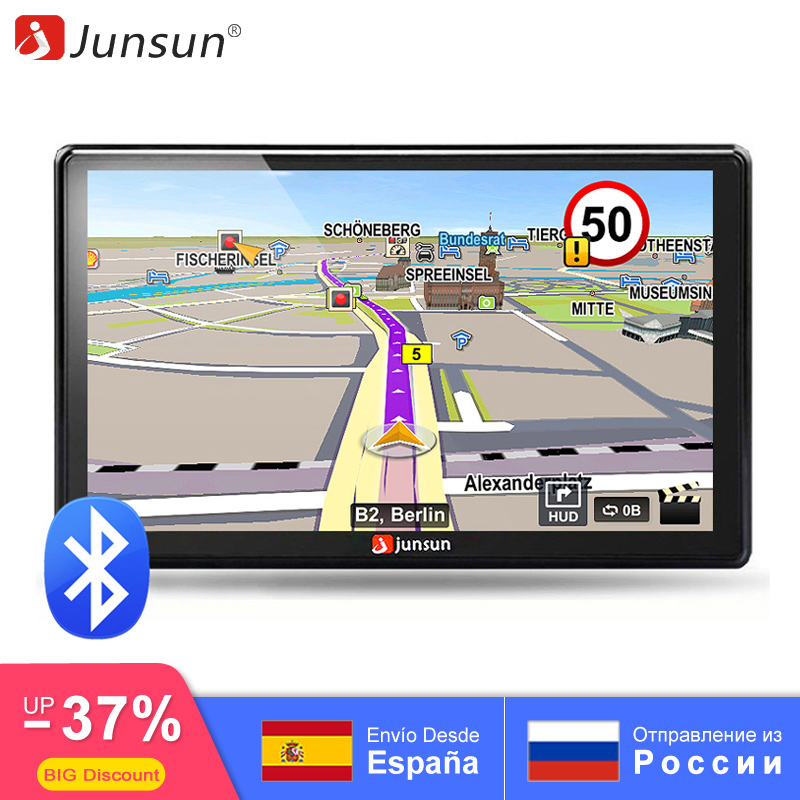 Junsun 7 inch HD Car GPS Navigation FM Bluetooth AVIN Navitel 2018 latest Europe Map Sat nav Truck gps navigators automobile
