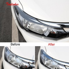 Tonlinker Exterior Car Front Headlight Cover stickers for Toyota Vios/Yaris 2014-19 Styling 2 PCS ABS Chrome