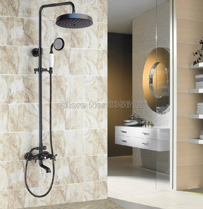 Wall Mounted Black Oil Rubbed Bronze Dual Handles Rain Shower Faucet Set with Ceramic Handheld Shower +Bathtub Mixer Taps Wrs384