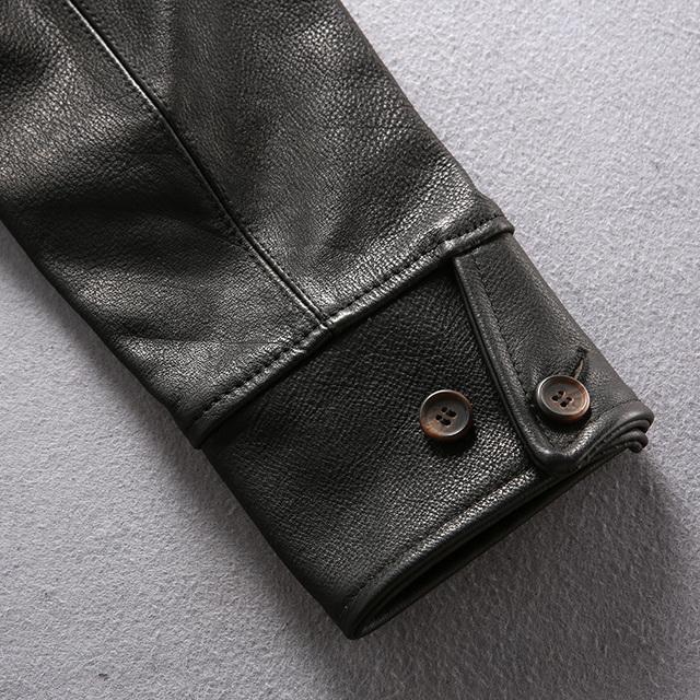 Read Description! Asian size genuine cow skin leather jacket mens vintage cowhide leather brakeman jacket