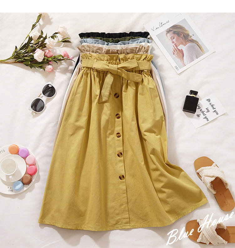 HTB1.kUdXyzxK1RjSspjq6AS.pXac - Summer Autumn Skirts Womens Midi Knee Length Korean Elegant Button High Waist Skirt Female Pleated School Skirt