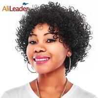 AliLeader Afro Peluca Sintética corta Rizada rizada Para Las Mujeres Negras Peluca Peinado Ninguno Encaje Pelucas de Fibra de Alta Temperatura 150% densidad