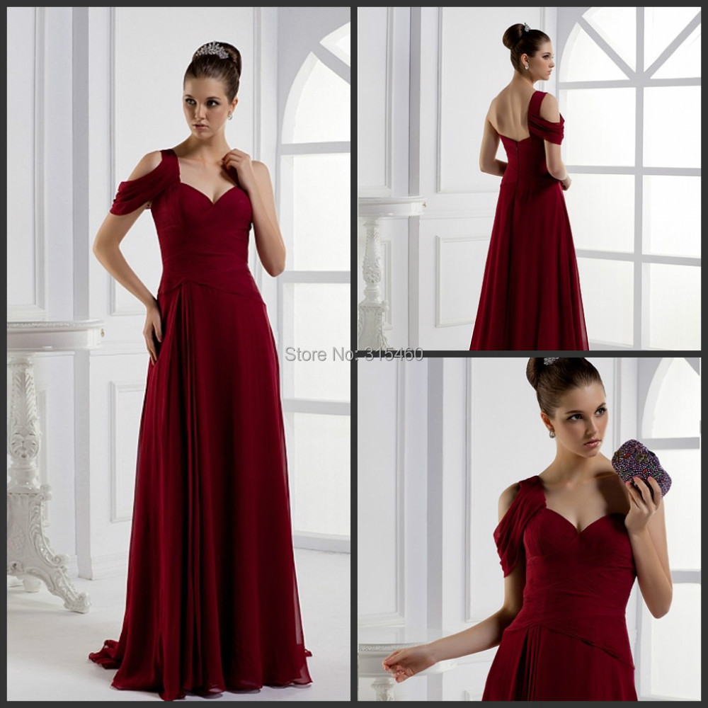 hy custom made burgundy one shoulder layered draped long