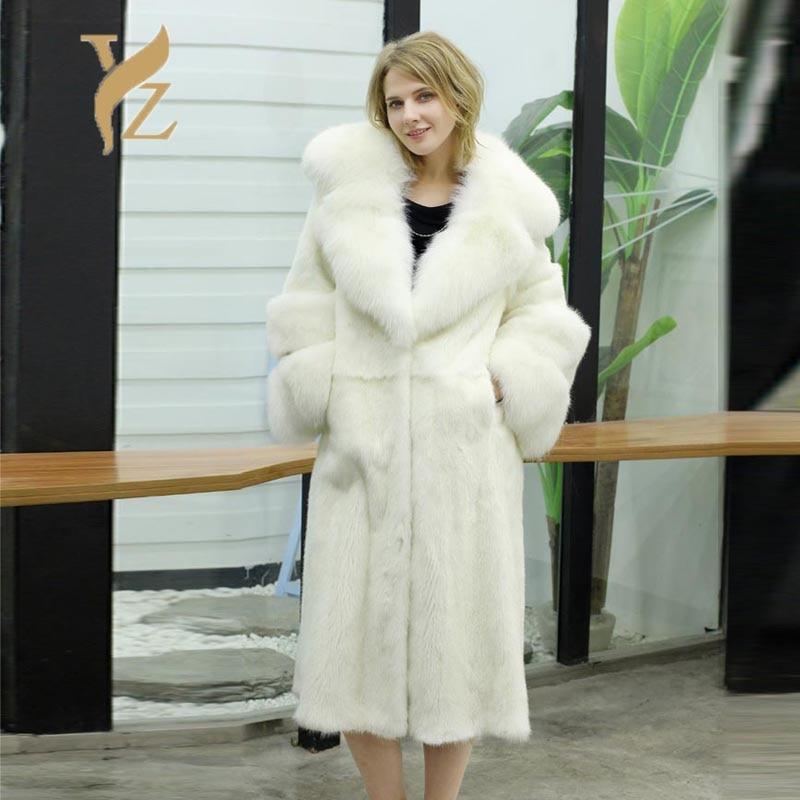 New Trendy Jacket Fur Coat Nature Mink Fur Coats For Women Big Furry White Fox Fur Collar Sleeves Capped Woman Winter 2018 Online Shop Real Fur