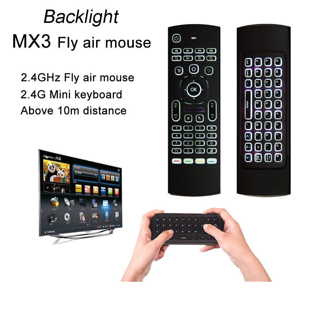 2.4G Backlight Gyroscope Fly Air Mouse Wireless Keyboard Remote Control Motion Sensor Game IR Learning Button for PC TV Box MX3B