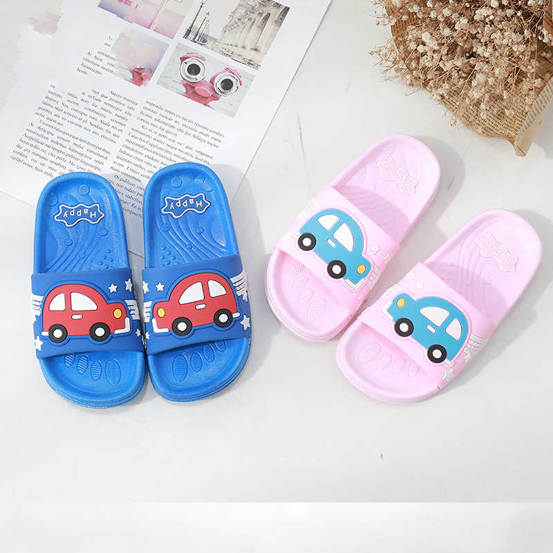 buy cheap get new best loved Children Summer Slippers Baby Boys Girls Flip Flops Cartoon Car Print Open  Toe Beach Wear Slippers for Kids Indoor Bathroom