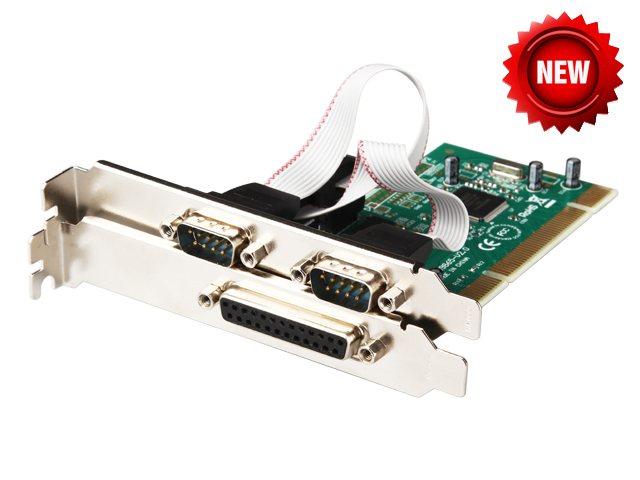Combo 2 DB-9 Serial (RS-232) + 1 DB-25 Parallel Printer (LPT1) Ports PCI Controller Card 9865 chip Industrial Multiport Serial