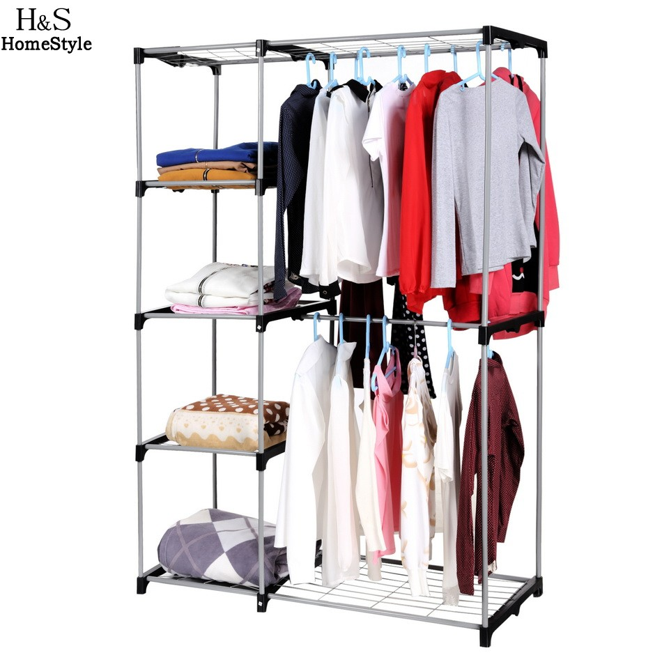 Homdox Wardrobes Portable Simple Closet Storage Cloth Cabinet Shelves  Hanging Shoes Clothes Organizer N2025