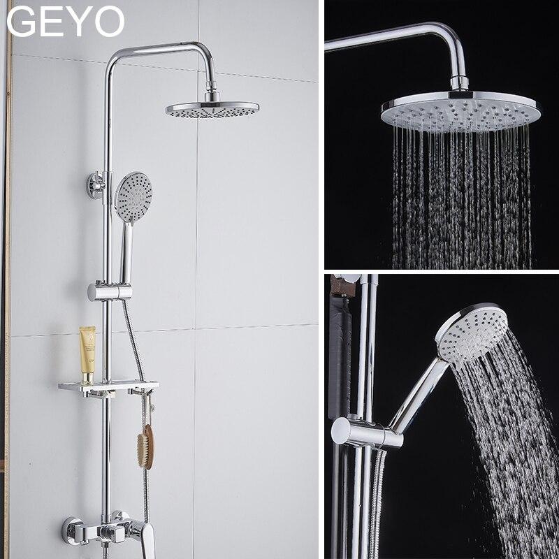 GEYO 3 modos painel rodada chuva Cromo plástico ABS cabeça de chuveiro Do Banheiro grande cabeça poupança de Água design Clássico G1/ 2 chuva chuveiro