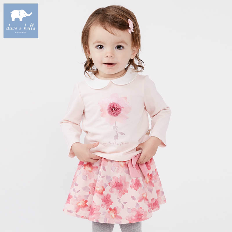 DBM7131 dave bella spring infant baby girls fashion clothing sets printed suit children toddle outfits high quality clothes