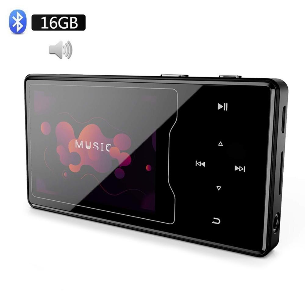 Lecteur MP3 bluetooth oth4.2 avec haut-parleur 16GB 2.4 pouces HD grand écran couleur HIFI lecteur de musique sonore sans perte, prise en charge SD jusqu'à 128GB
