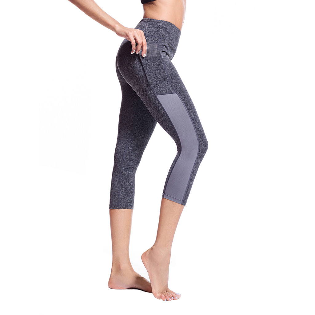 Hot Sale Gym  Women's Side Pocket Stitching Tight Running Stretch Seven-point Sports  Athletic NEW Fanatic   A517