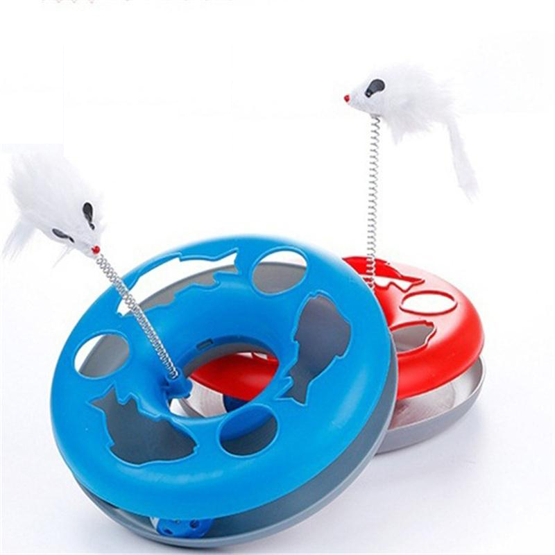 4 Colors New Cat Toy Spring Mice Crazy Amusement Multifunctional Disk Funny Activity Interactive Mouse Kitten Toys For Cat Pet