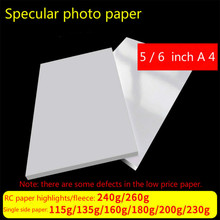 60pcs/100pcs 5/6/ Inch A4 Photographic Paper Glossy Printing Printer Photo Color Coated For Home