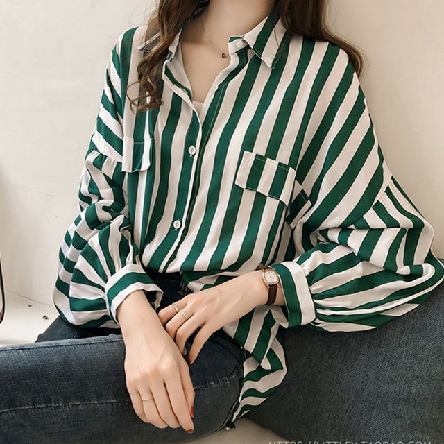 bcac636ff115 Bawting Long Sleeve Striped Blouse Women Green White Striped Blouse Shirts  Plus Szie Back Long Fashion