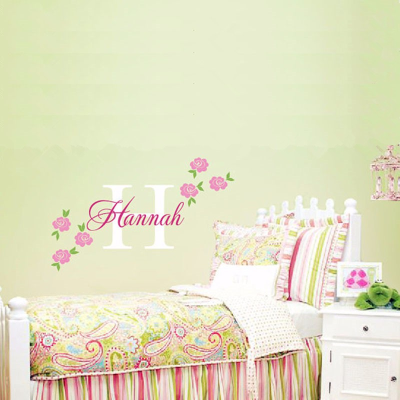 ᗚRose Decal - Custom Name Wall Sticker - Girl Nursery Children ...