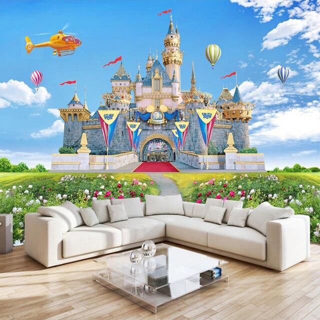 Kinderzimmer 3D Stereo Schloss Hintergrund Wandbild Blauer Himmel ...