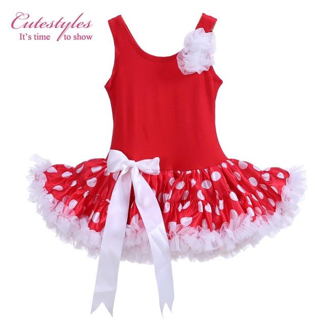ab5493dcff79 Cutestyles Red Girls Tutu Dress Polka Dot Dance Costume White Flower ...