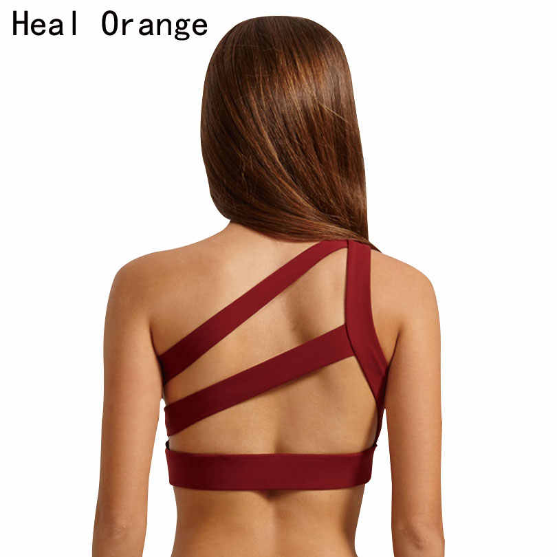 HEAL ORANGE 2017 New Oblique One Shoulder Strap Women's Sports Bra Hollow out Back Lines Strenuous Exercise fitness bra Tops