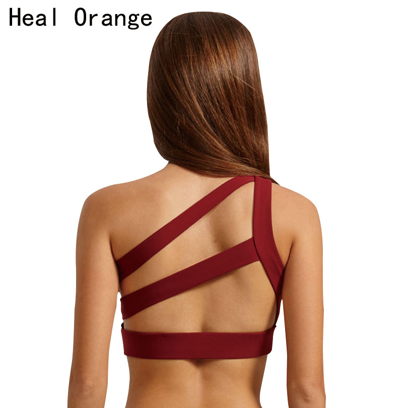 HEAL ORANGE 2017 New Oblique One Shoulder Strap Women's Sports Bra Hollow out Back Lines Strenuous Exercise fitness bra Tops caged back sports bra