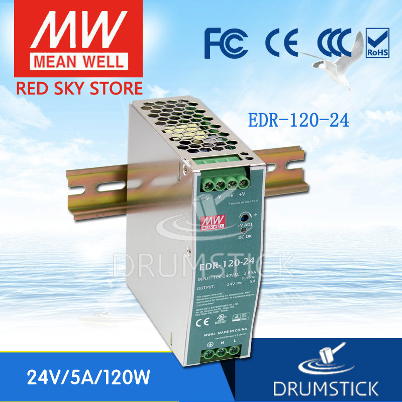 (Only 11.11)MEAN WELL EDR-120-24 (2Pcs) 24V 5A meanwell EDR-120 120W Single Output Industrial DIN RAIL(Only 11.11)MEAN WELL EDR-120-24 (2Pcs) 24V 5A meanwell EDR-120 120W Single Output Industrial DIN RAIL