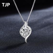 TJP Trendy 925 Sterling Silver Water Drop Pendant Necklace New Fashion Austrian Rhinestones Crystal Women Girl Wedding Jewelry все цены