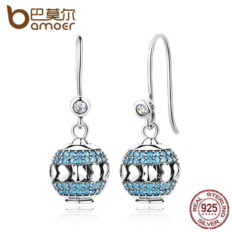 BAMOER Classic 3 Parts, Clearly CZ 925 Sterling Silver Blue Heart To Heart Drop Earrings Set With Beads DIY Fine Jewelry