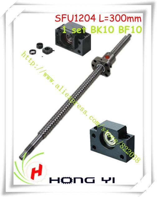 1pcs Ball screw SFU1204 L=300mm RM1204 ballscrew + 1pcs Ballnut + 1 set BK10 BF10 Support CNC цена