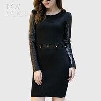 Women autumn luxury pearl embroidery black elastic pencil dress long genuine leather real lambskin sleeve spliced jurken LT2309