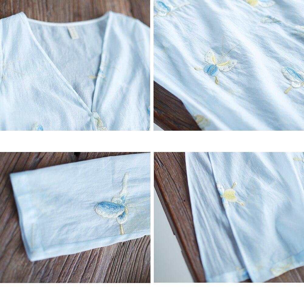 Lado divide longo borboleta IRINAW682 nova chegada do verão 2018 do vintage bordado camisa das mulheres - 4