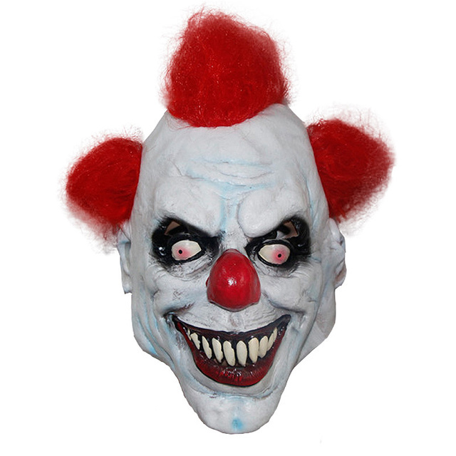 X MERRY TOY Killer Clown Mask Adult Mens Latex & Red Hair ...