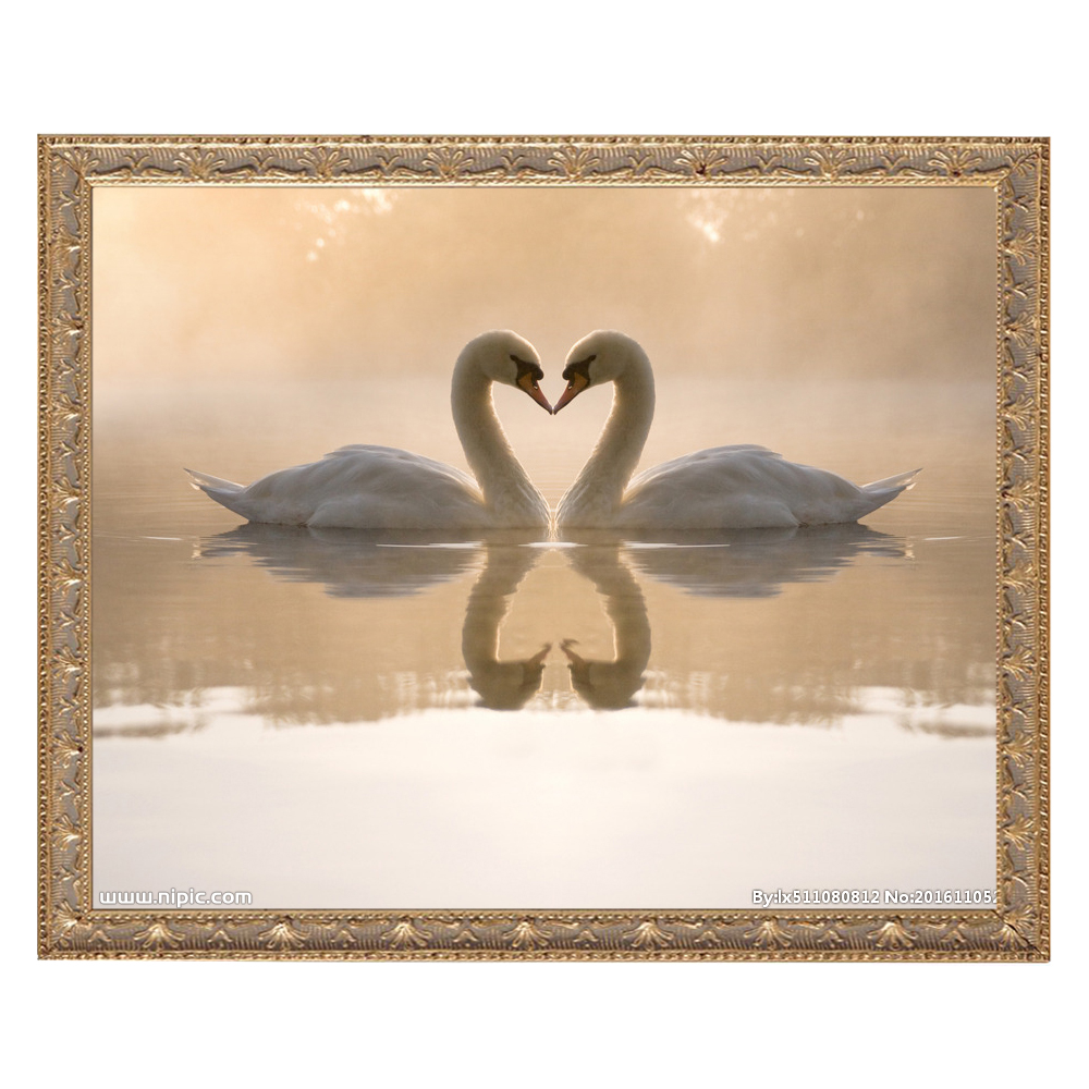 5D DIY Diamond Painting Cross Stitch Crystal Needlework Two Swan On River Full Square Diamond Embroidery Home Decoration