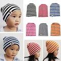 New Baby Hats 2016 Striped Cap Ear Headgear Boys Girls Caps Spring Autumn Skullies Newborn Bonnet Hat Knitted Baby Accessories