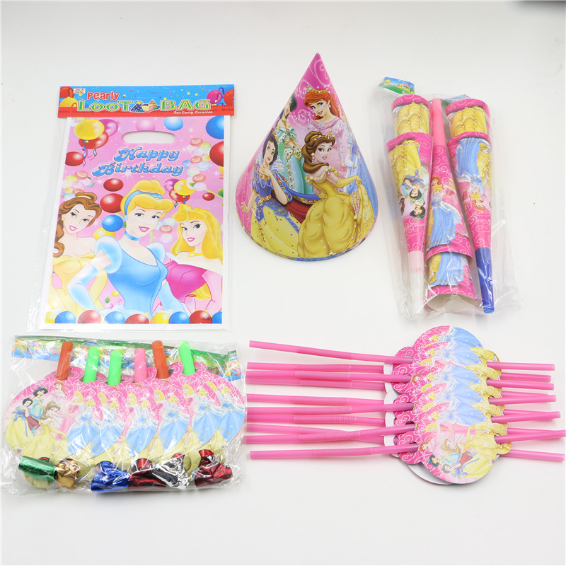 1pack 50pcs Wholesale Cartoon princess Baby 1st Birthday Theme Party Supplies Kids Party Decoration supplies for 10 People Use