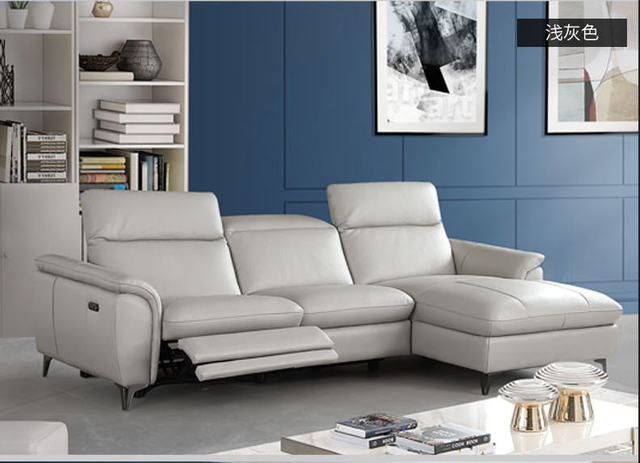 Living Room Sofa set corner sofa recliner electrical genuine leather ...
