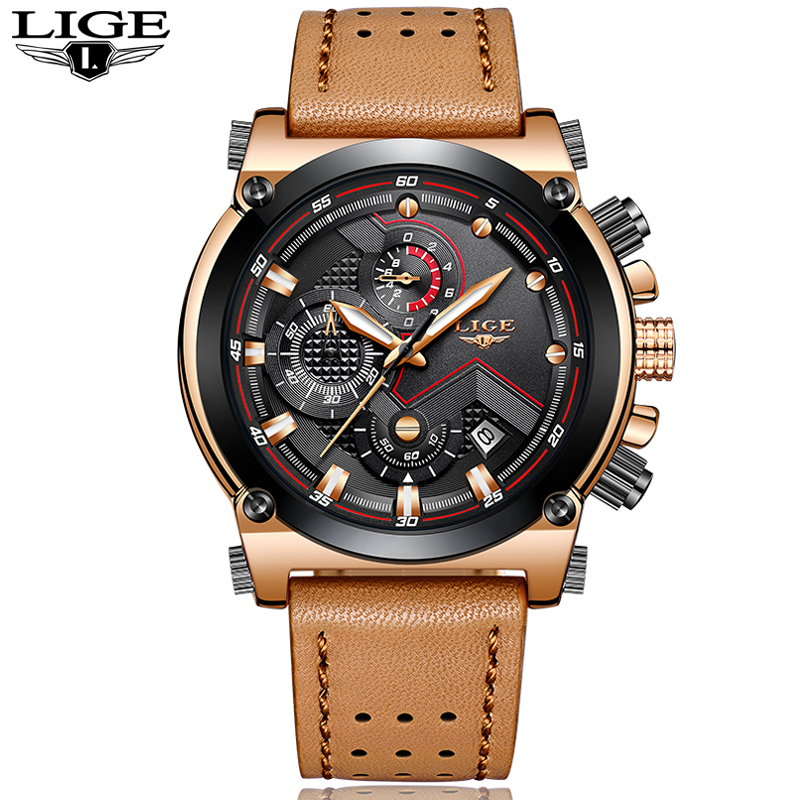 Relojes hombre LIGE Mens Watches Top Brand Luxury Casual Quartz Watch Men Leather Big Dial Military Waterproof Sports Watches oulm new arrive double time zone sports watches men luxury brand pu leather big wristwatch male quartz watch relojes hombre