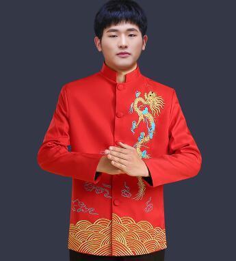 Vêtements pour hommes pratensis style chinois haut de mariage le marié dragon robe de soirée rouge haut slim rouge tang costume chinois tunique - 4