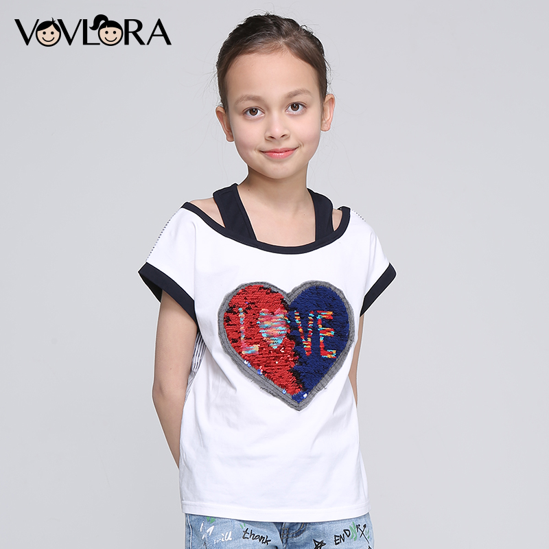 Girls T Shirt Tops Heart Double Sequins Striped Kids Cotton T Shirts Letter Children Clothing Summer Size 9 10 11 12 13 14 Years little maven 2017 summer baby boys girls t shirts children cotton letter printing daddy my super hero t shirts brand tops l013