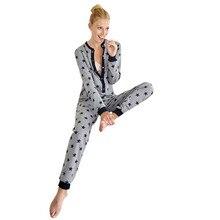 87e2cef17 MUQGEW mulheres onesie pijama para as mulheres sleepwear algodão de Manga  Longa Senhoras Estrela Impresso Macacão
