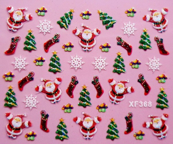 3D Christmas gift design Water Transfer Nails Art Sticker decals lady women manicure tools Nail Wraps Decals XF368 12 models set gold 3d design christmas nail sticker bling bows nail art manicure stickers decals for women nails decoration