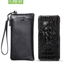 CKHB Real Leather Wallet + Back Cover For samsung galaxy note 8 Luxury Genuine Leather Back Cover For galaxy note 9 Phone Bag