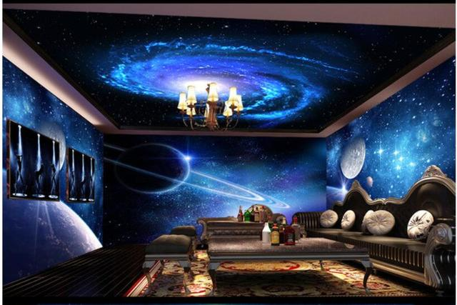 Cool star theme space background wall ceiling for Cool wallpaper designs for bedroom