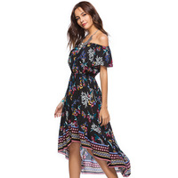 New Summer Print Long Dress Irregular Women Slash Neck Dress Three Colors To Choose Dates And