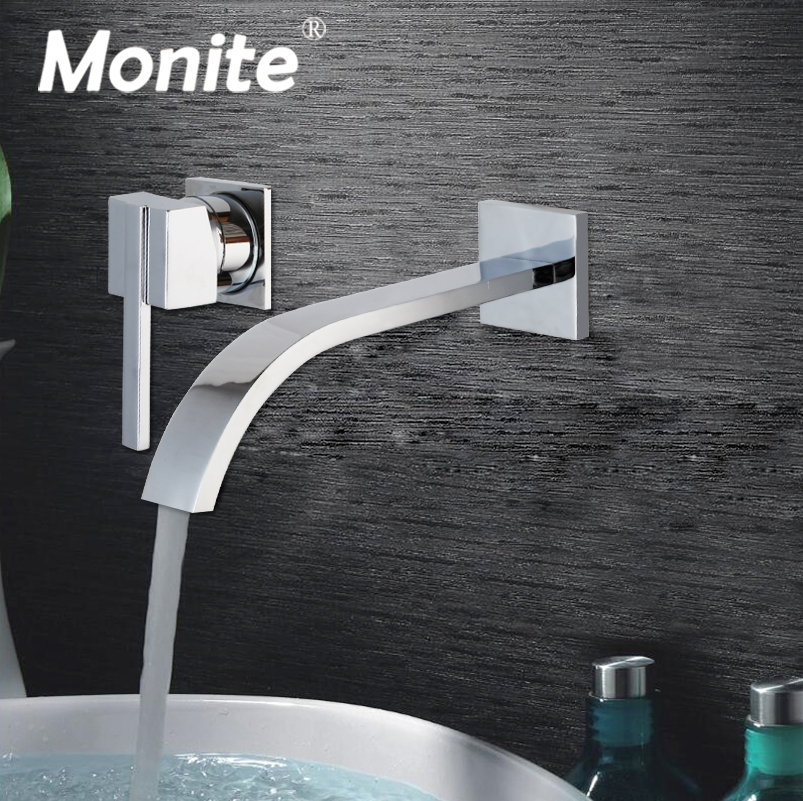 Wall Mounted Waterfall Spout Chrome Brass Bathroom Faucet Single Handle Hot And Cold Mixer Tap cancun page 6