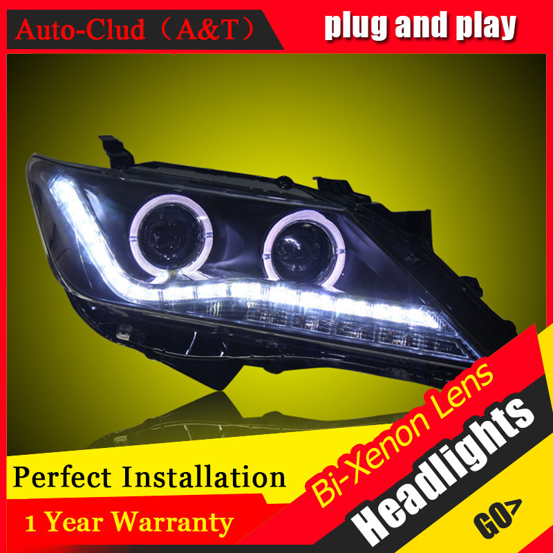 Car Styling For Toyota Camry led headlight 2012-13 For Camry head lamp Angel eye led DRL front light Bi-Xenon Lens xenon HID KIT for toyota camry led headlights car styling 2015 for camry xenon headlights led drl light guide bifocal lens headlight light