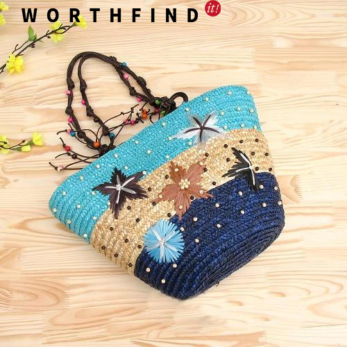 WORTHFIND Summer Straw Beach Bags Weave Woven Shoulder  bolsa For Travel handmade flower appliques straw woven bulk bags trendy summer styles beach travel tote bags women beatiful handbags